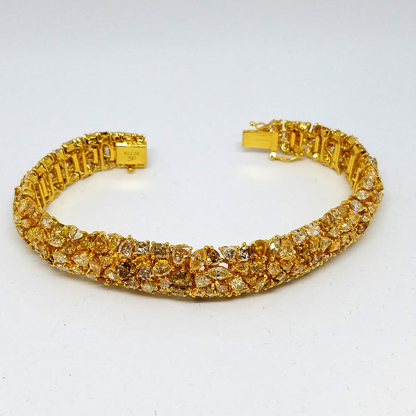 18K Yellow Gold Diamond Blossom Bracelet