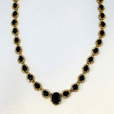 Elizabeth Taylor Inspired 50 Carat Black Sapphire Diamond Necklace