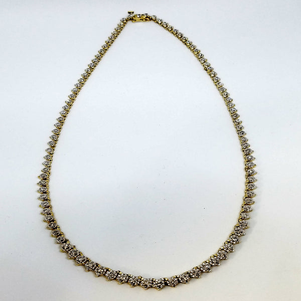 14 K Yellow Gold and Diamond Tennis Necklace