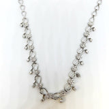 14K White Gold and Diamond Flower Bud Necklace