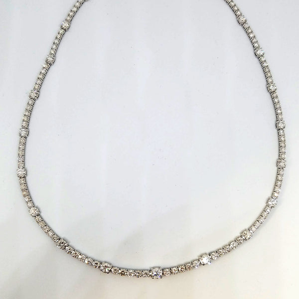 Classic 14 K White Gold and Diamond Necklace
