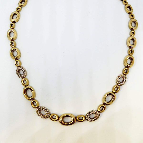 14 K Yellow-Gold Diamond Round Link Necklace
