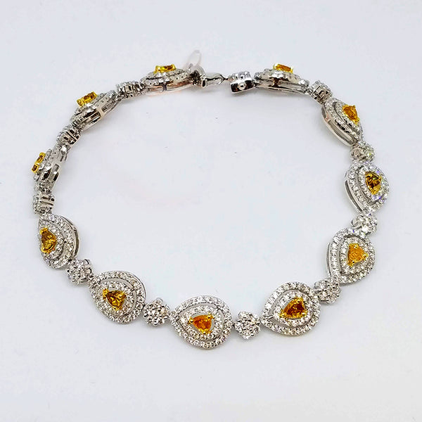 18K White Gold Fancy Yellow and White Diamond Bracelet