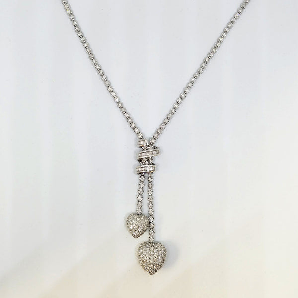18K White Gold Diamond Gleaming Dual Heart Necklace