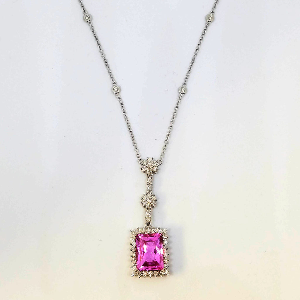 White Gold and Diamond Necklace with Rectangular Pink Topaz Pendant