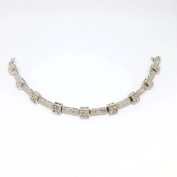 14K White Gold Diamond Short Bold Bracelet