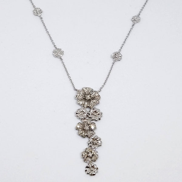 14K White Gold and Diamond Floral Charm Necklace