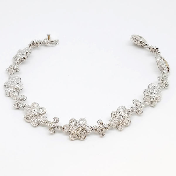 14 K White Gold Diamond Floral Whimsy Bracelet
