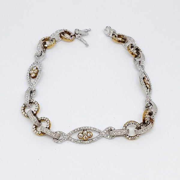 14K Gold Diamond Two Tone Link Bracelet