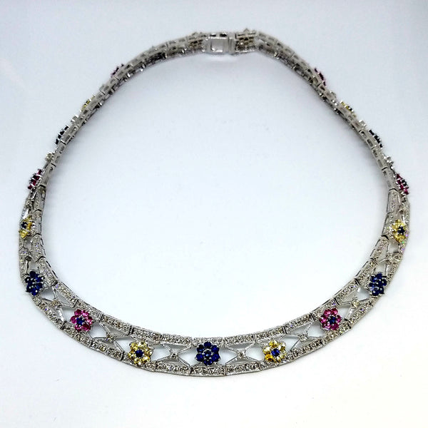 Colorful Gemstones Studded Solid Necklace