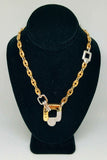 14 K Yellow and White Gold Linked Chain Diamond Pendant Necklace