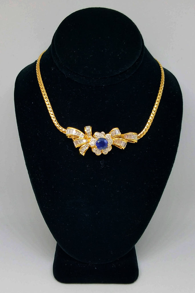 14K Yellow Gold Sapphire Diamond Bow Necklace