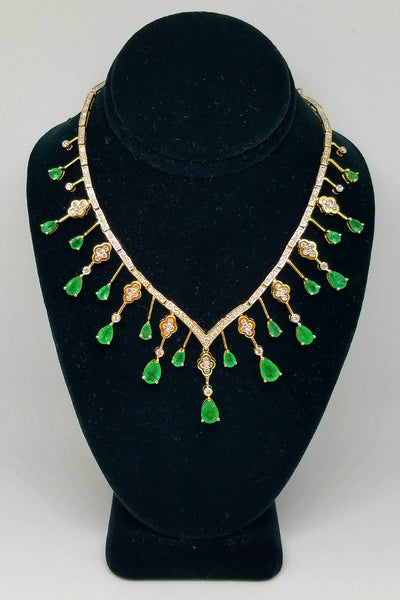14K Yellow Gold Diamond Emerald Charm Necklace
