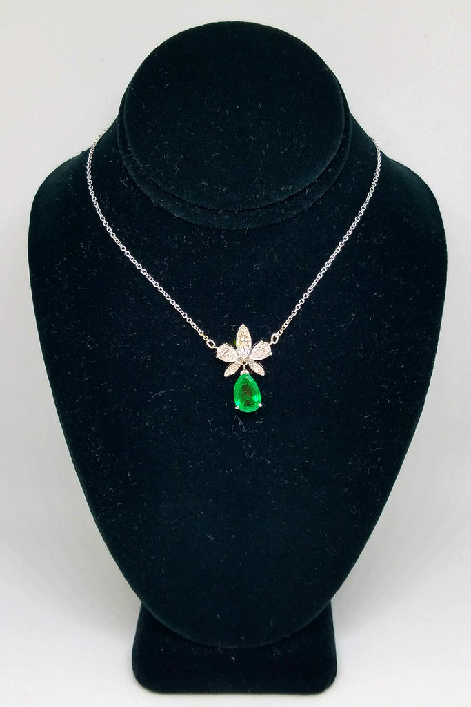 14K White Gold Marquise Diamond Emerald Drop Pendant Necklace