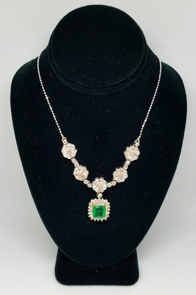 18K White Gold Diamond and Emerald Persian Floral Necklace