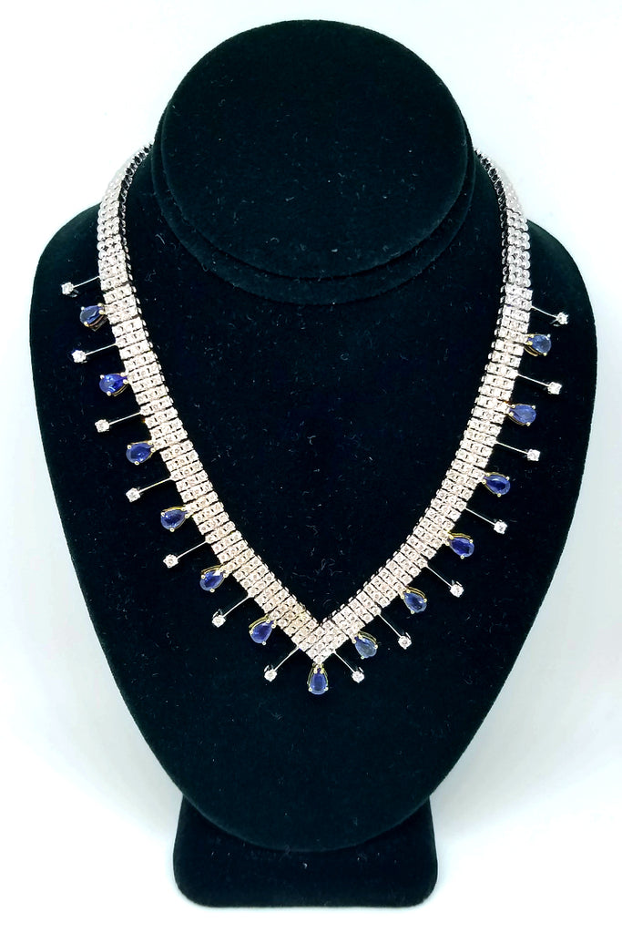 18 k White Gold Diamond Sapphire Blue Allure Necklace