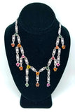 18K White Gold Colorful Diamond Necklace