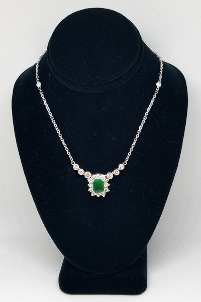 14 K White Gold Diamond Emerald Pendant Necklace