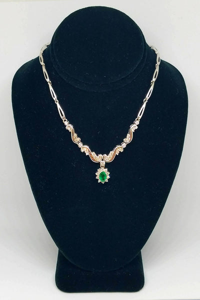 14K White Gold Emerald Diamond Floral Pendant Necklace