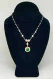 14 K White Gold Diamond Necklace With Square Emerald Pendant
