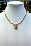 Yellow Gold Diamond Swirl Floral Pattern Necklace
