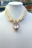 Pearl Necklace with Yellow Gold and Amethyst Necklace