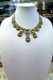 14K/18K Yellow Gold and Silver Yellow Topaz Necklace Earring Set