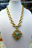 18K Yellow Gold Diamond Emerald Grace Necklace