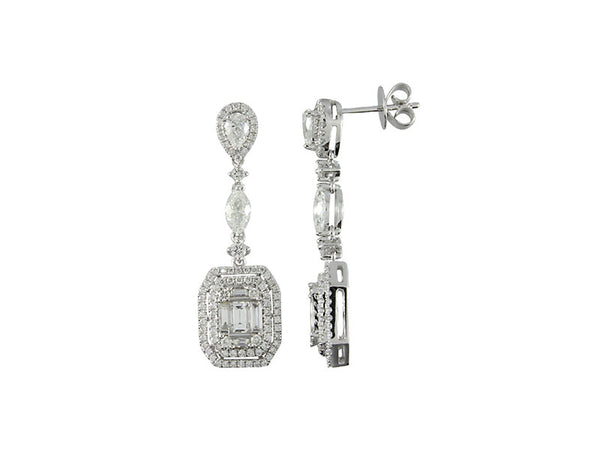 18K White Gold Diamond Earrings 1.95ctw