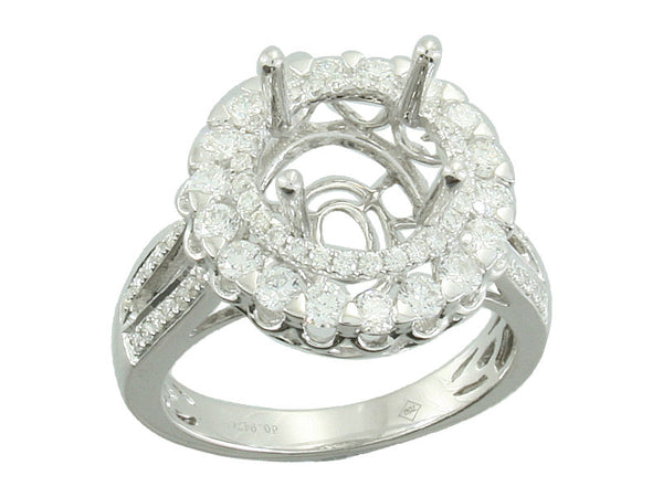 18k White Gold 0.95ctw. Semi Mount Diamond Ring