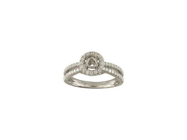18k White Gold 0.52ctw. Semi Mount Diamond Ring