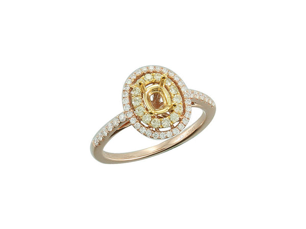 18k Yellow Gold 0.82ctw. Semi Mount Diamond Ring