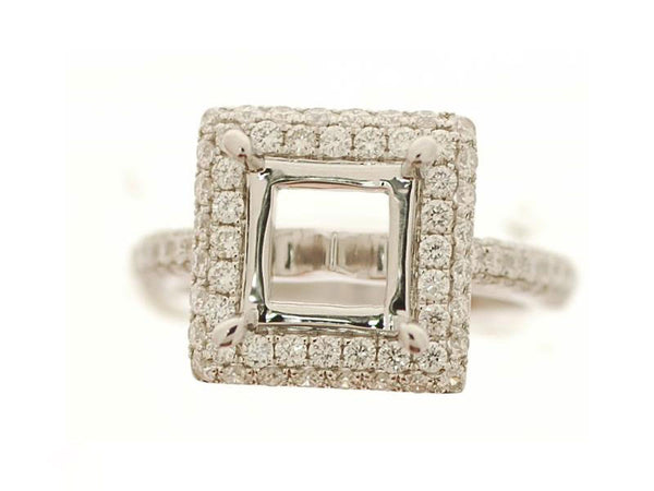 18k White Gold 1.15ctw. Semi Mount Diamond Ring
