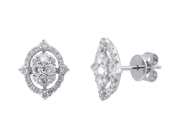 18K White Gold Diamond Earrings 0.65ctw