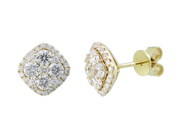 18K Yellow Gold Diamond Earrings 0.65ctw