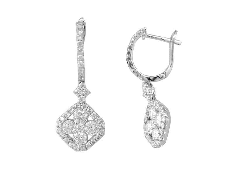 18K White Gold Diamond Earrings 1.56ctw
