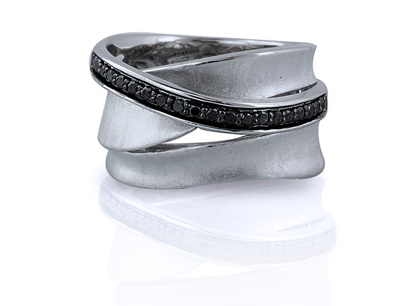 Sterling Silver 0.31ctw. Black Diamond Ring