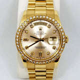 Pre-Owned Rolex 18K Oyster Perpetual Day-Date Watch with President Bracelet and Diamond Dial