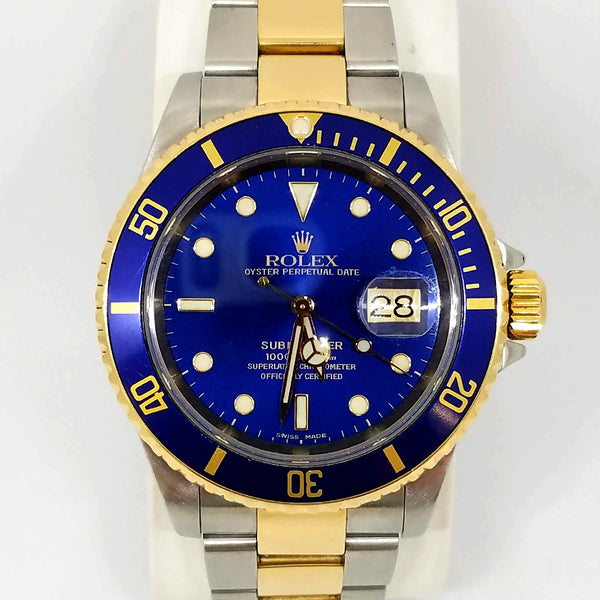 Pre-Owned Rolex Oyster Perpetual Date Two Tone Blue Bezel Submariner Watch