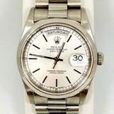 Rolex Silver Face Oyster Perpetual Day-Date Superlative Chronometer Watch