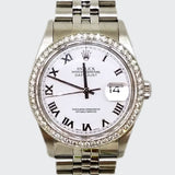 Pre-Owned Rolex Diamond Bezel Perpetual Datejust Superlative Chronometer Watch