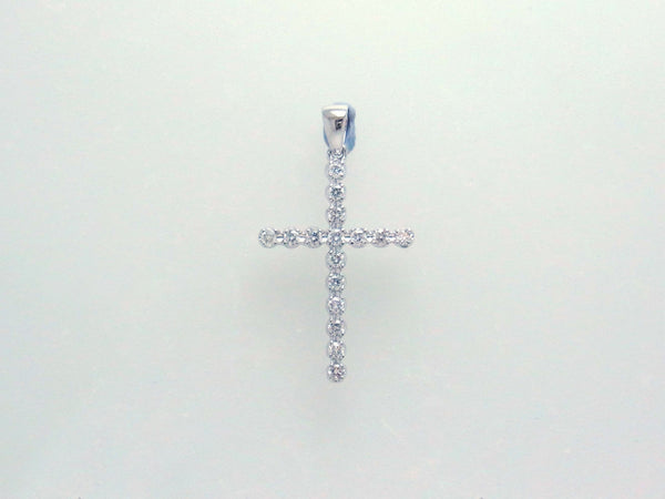 18kw Diamond 0.42 Cross Pendant