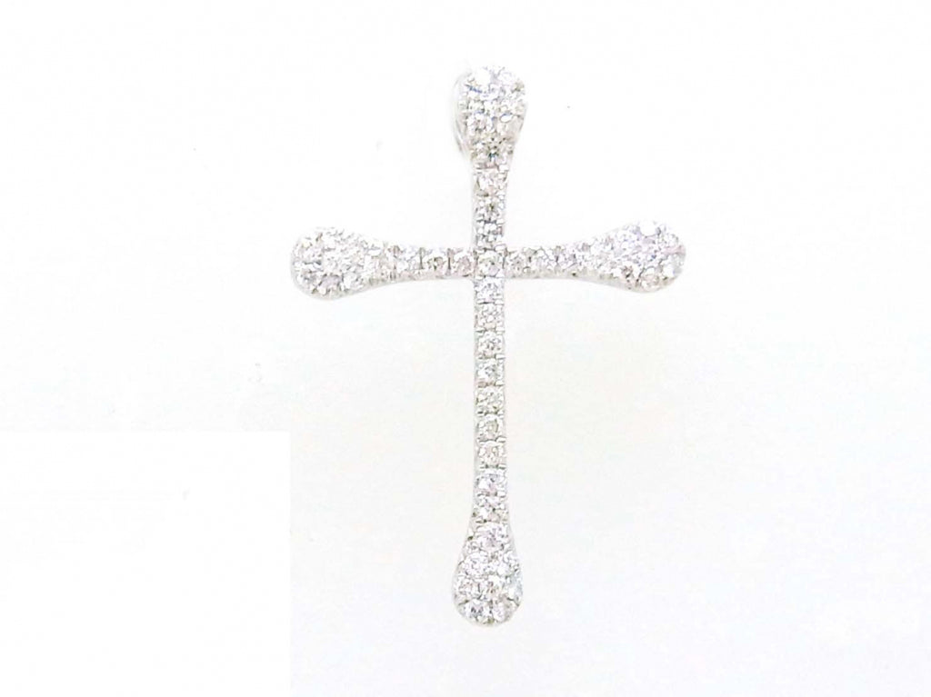 18kw Diamond 0.46 Cross Pendant