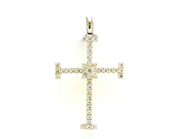 18kw Diamond 0.59 Cross Pendant