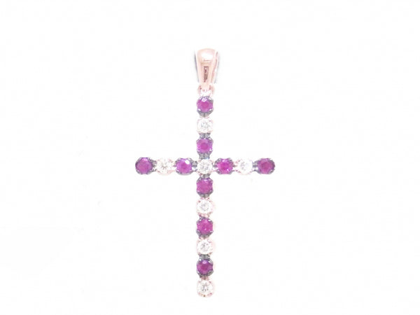 18kr Diamond 0.18 Ruby 0.31 Cross Pendant
