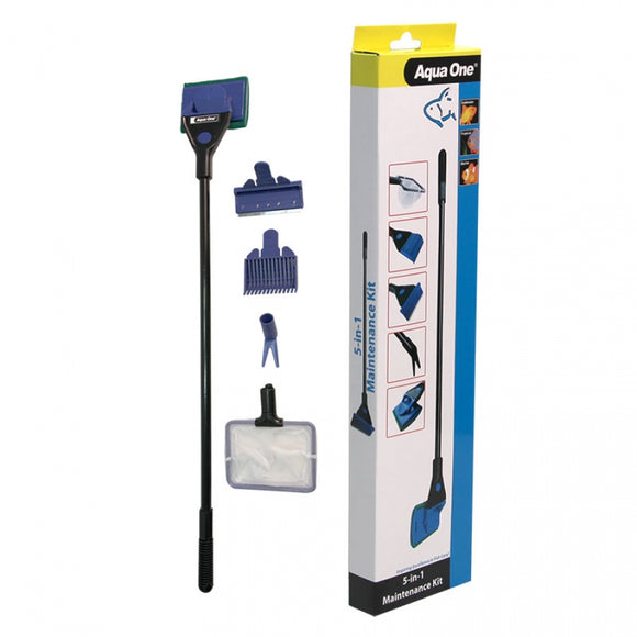 Aqua One 5 in 1 Aquarium Maintenance Kit ( Scraper - Pad - Rake - Fork - Fish Net )