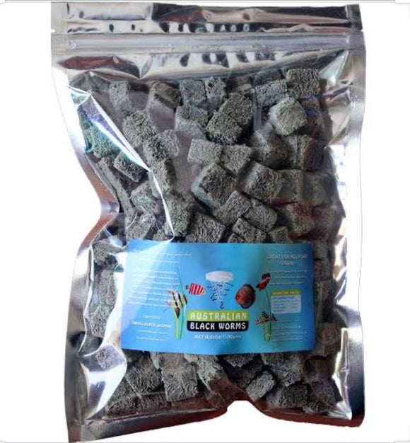 Australian Freeze Dried Black Worms 200gm - Cubed
