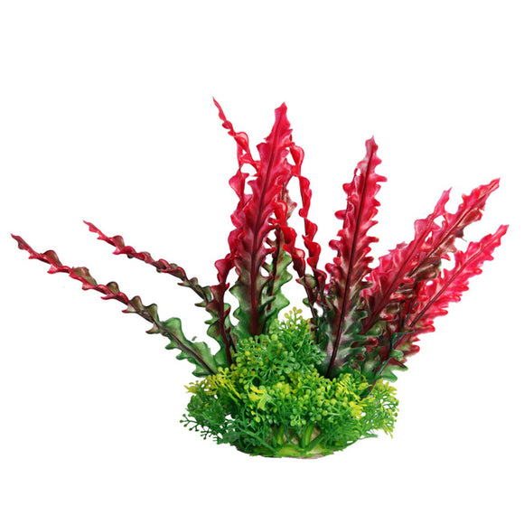 Aqua one Medium Ruffled Lace Red Artificial Aquarium Plant 20cm Tall