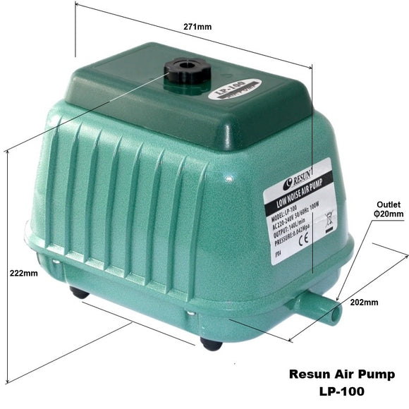Resun LP100 Septic Air Pump-140L/min, Pond, Tank & Aquarium, 2Yr Elect Wty