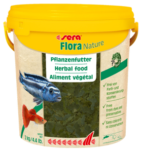 Sera Flora Nature 2kg Bucket - 7% Spirulina Algae Green Veggie Fish Flakes